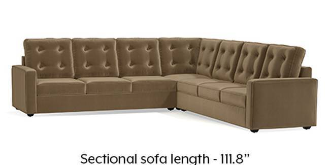 Apollo Sofa Set (Fabric Sofa Material, Regular Sofa Size, Soft Cushion Type, Corner Sofa Type, Corner Master Sofa Component, Tuscan Tan Velvet, Tufted Back Type, Regular Back Height)