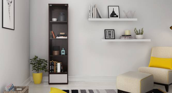 Iwaki Bookshelf With Glass Door (Dark Walnut Finish, 1 Drawer Configuration, 30 Book Book Capacity) by Urban Ladder