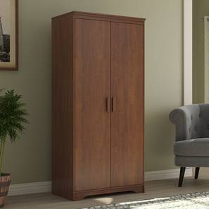 Hilton 2 Door Wardrobe (Without Mirror Mirror, Without Drawer Configuration, 6 Feet Height, Red Oak Finish) by Urban Ladder