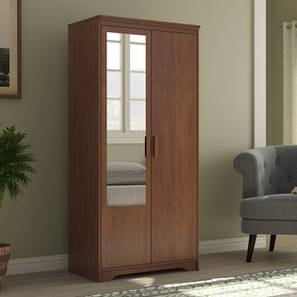 Hilton 2 Door Wardrobe (With Mirror Mirror, Without Drawer Configuration, 6 Feet Height, Red Oak Finish) by Urban Ladder