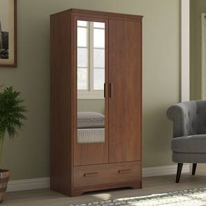 Hilton 2 Door Wardrobe (With Mirror Mirror, With Drawer Configuration, 6 Feet Height, Red Oak Finish) by Urban Ladder