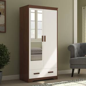 Hilton 2 Door Wardrobe (Two-Tone Finish, With Mirror Mirror, With Drawer Configuration, 6 Feet Height) by Urban Ladder