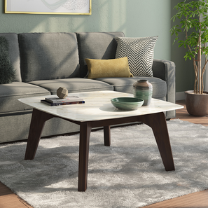 Galatea Marble Square Coffee Table (American Walnut Finish) by Urban Ladder