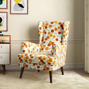 Genoa Wing Chair ( Marigold Inca) by Urban Ladder
