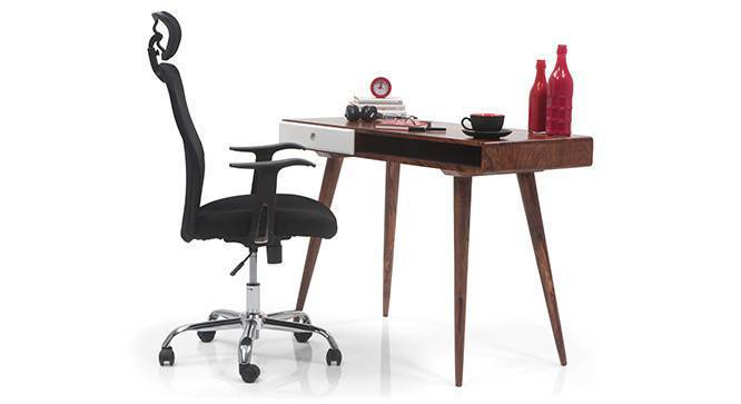 Roswell - Venturi Study Set (Carbon Black, Teak White Finish) by Urban Ladder