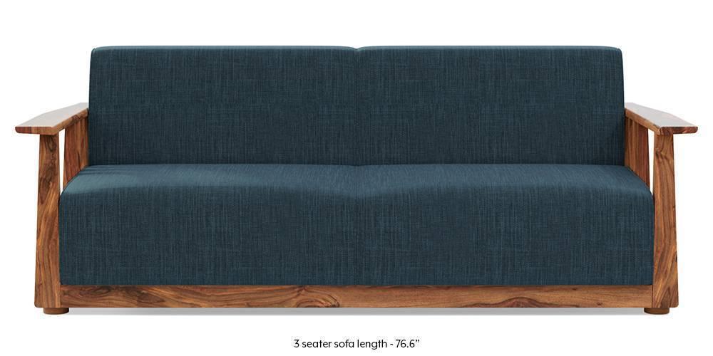 Serra Wooden Sofa - Teak Finish (Indigo Blue) - Urban Ladder