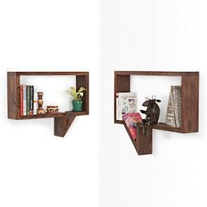 Quote-Unquote Wall Shelves (Set of 2) (Mahogany Finish) by Urban Ladder