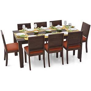 Arabia XL - Oribi 8 Seater Dining Set (Mahogany Finish, Burnt Orange) by Urban Ladder