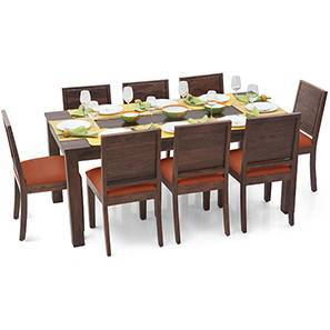 Arabia XL - Oribi 8 Seater Dining Set (Teak Finish, Burnt Orange) by Urban Ladder