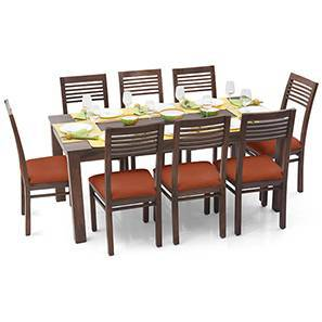 Arabia XL - Zella 8 Seater Dining Set (Teak Finish, Burnt Orange) by Urban Ladder