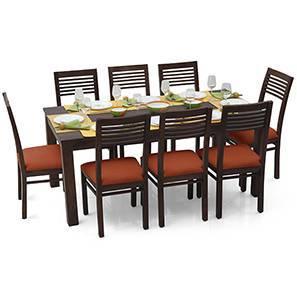 Arabia XL - Zella 8 Seater Dining Set (Mahogany Finish, Burnt Orange) by Urban Ladder