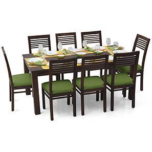 Arabia XL - Zella 8 Seater Dining Set (Mahogany Finish, Avocado Green) by Urban Ladder