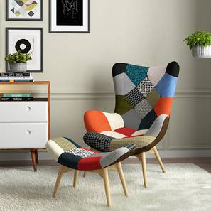 Contour Chair & Ottoman Replica (Patchwork) by Urban Ladder