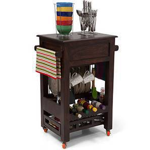 Julia Kitchen Trolley (Mahogany Finish) by Urban Ladder