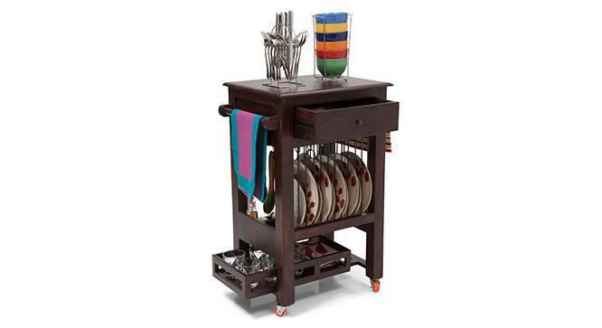 Julia Kitchen Trolley (Mahogany Finish) by Urban Ladder