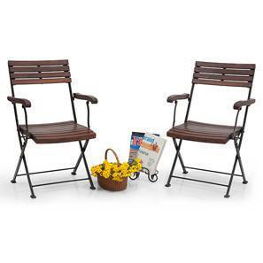 Masai Arm Chairs - Set of Two (Teak Finish) (Black) by Urban Ladder