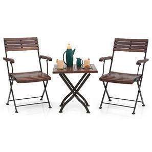 Masai Arm Chair Table Set (Teak Finish) (Black) by Urban Ladder
