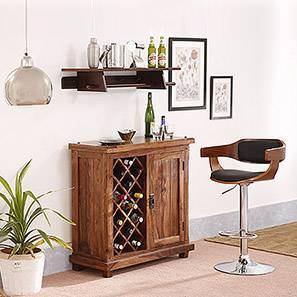 Chumley Adjustable Height Swivel Bar Stool (Walnut Finish) by Urban Ladder