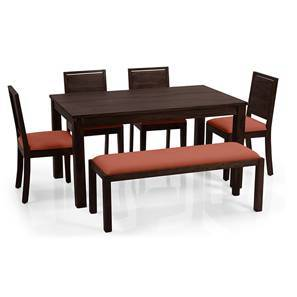 Arabia - Oribi 6 Seater Dining Set (With Bench) (Mahogany Finish, Burnt Orange) by Urban Ladder