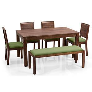 Arabia - Oribi 6 Seater Dining Set (With Bench) (Teak Finish, Avocado Green) by Urban Ladder