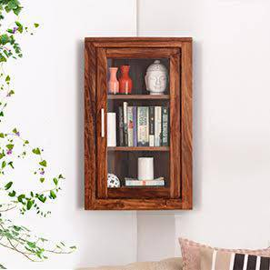 Murano Corner Wall Display Cabinet (Teak Finish) by Urban Ladder