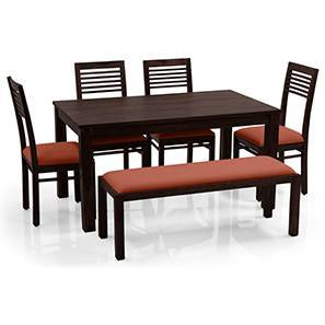 Arabia - Zella 6 Seater Dining Table Set (With Upholstered Bench) (Mahogany Finish, Burnt Orange) by Urban Ladder