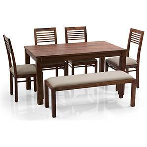 Arabia - Zella 6 Seater Dining Table Set (With Upholstered Bench) (Teak Finish, Wheat Brown) by Urban Ladder