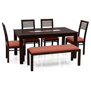 Brighton Large - Zella 6 Seater Dining Table Set (With Upholstered Bench) (Mahogany Finish, Burnt Orange) by Urban Ladder