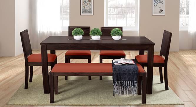 Brighton Large - Oribi 6 Seater Dining Table Set (With Upholstered Bench) (Mahogany Finish, Burnt Orange) by Urban Ladder