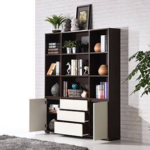 Iwaki Bookshelf (Dark Walnut Finish, 3 Drawer 2 Cabinet Configuration) by Urban Ladder