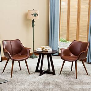 Keaton Lounge Chair - Set of 2 (Brown) by Urban Ladder