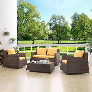 Samui Patio Set With Table (2-1-1) (Brown Finish) by Urban Ladder