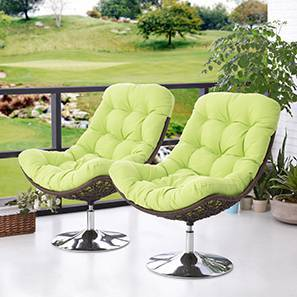 Calabah Swivel Lounge Chair - Set Of 2 (Green) by Urban Ladder