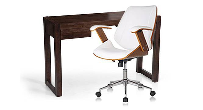 Austen - Ray Study Set (Mahogany Finish, White) by Urban Ladder