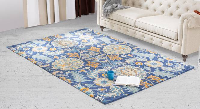 "Sardis Hand Tufted Carpet (60'' x 93"" Carpet Size, Prussian Blue) by Urban Ladder"
