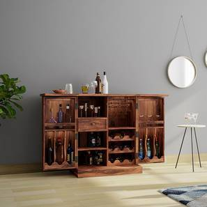Caledonia Bar Cabinet Teak Finish By Urban Ladder