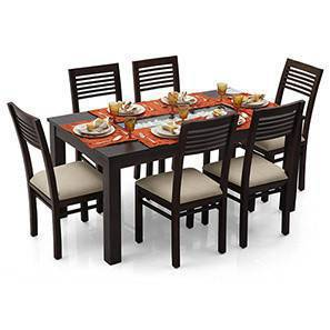 Brighton - Zella 6 Seater Dining Table Set (Mahogany Finish, Wheat Brown) by Urban Ladder
