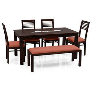 Brighton - Zella 6 Seater Dining Table Set (With Upholstered Bench) (Mahogany Finish, Burnt Orange) by Urban Ladder