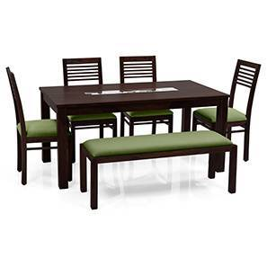 Brighton - Zella 6 Seater Dining Table Set (With Upholstered Bench) (Mahogany Finish, Avocado Green) by Urban Ladder