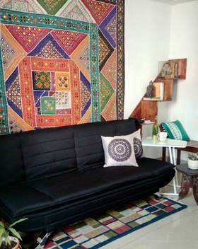 A start to my long time wish to having a Bohemian room. The black Edo sofa perfectly compliment the backdrop of colour riot along with the Jony laptop table and medalian cushions. Thanks to Urban Ladder for the smooth transaction once again!