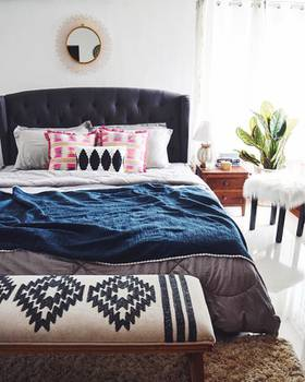 """Diwali is just around the corner! And this time I haven't really made much of an effort to prep the home. All I will be doing is hang some string lights and light some scented candles which is equal to """"zero effort"""", also thanks to Urban Ladder for this lovely Bed which would be my main indoor decoration :)"""