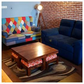 Our new home with the Minnelli Loveseat, Kivaha coffee table, Endeavour Tripod Floor Lamp and Adelaide two-seater sofa #ULStory @urbanladder